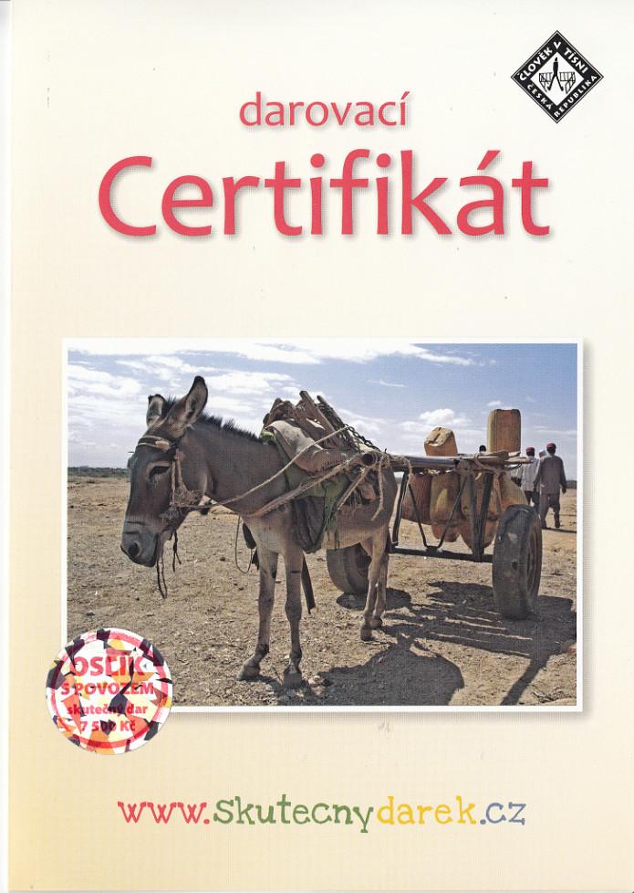 Darovací certifikát Člověk v tísni - oslík s povozem